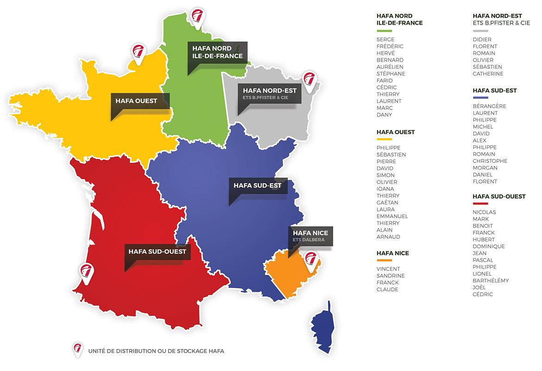 Carte de France du réseau HAFA