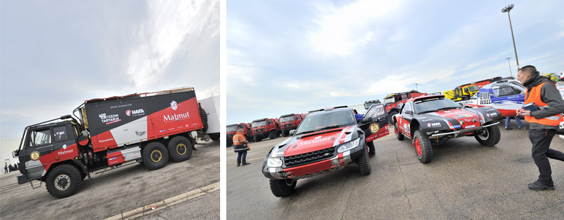 Buggy et camion d'assistance de l'équipe Croizon Tartarin Dakar 2017