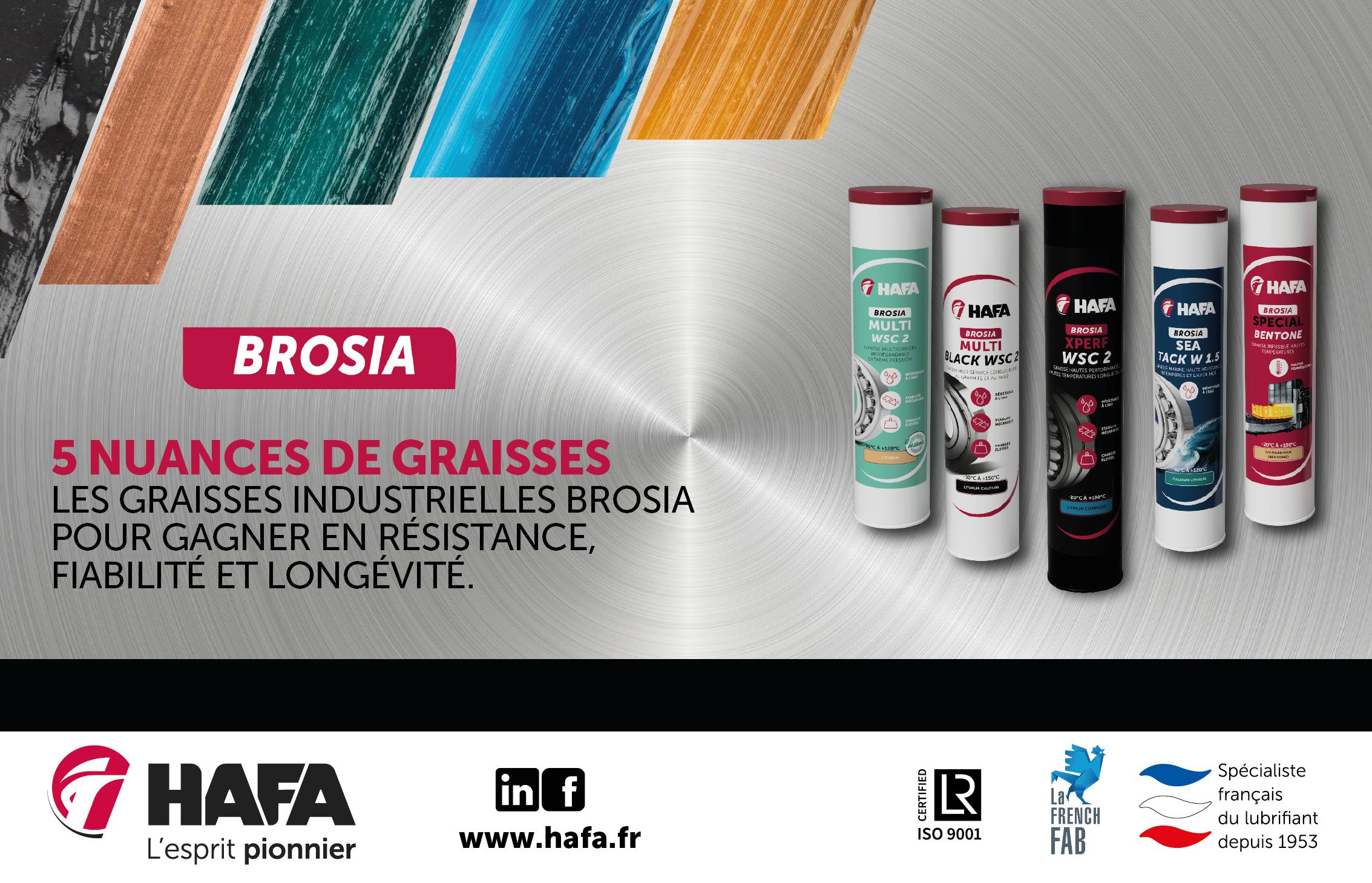 Hafa lance une nouvelle gamme BROSIA – 5 Nuances de Graisses industrielles. dans - - - ACTUALITE GRAISSES. 1_2-PAGE-BROSIA